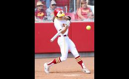 Iowa State senior Logan Schaben takes a swing during Big 12 action last year against Oklahoma. Schaben was batting .266 through March 8 when the rest of the 2020 season was cancelled due to COVID-19. (Photo by Mike Oeffner)