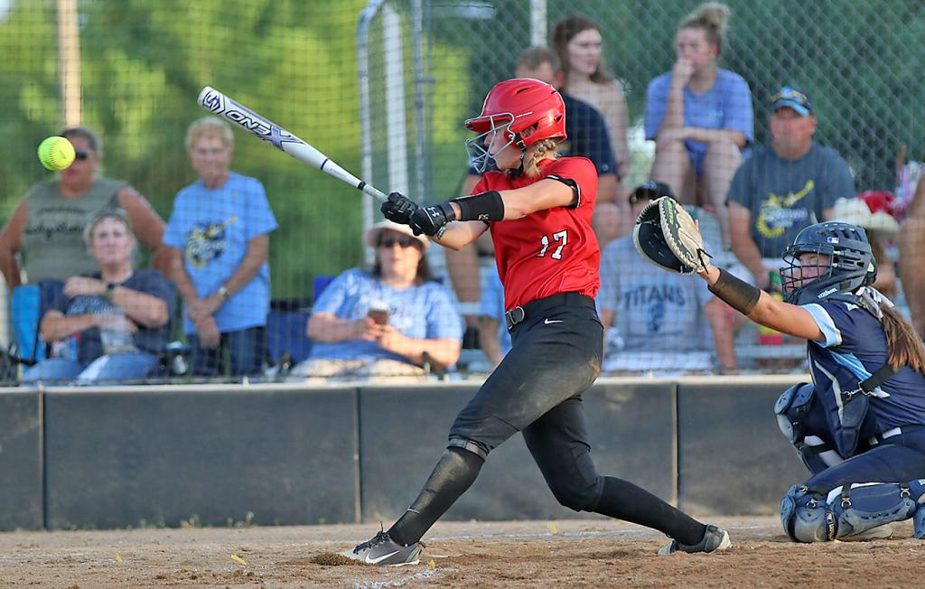HCHS freshman Aurora Miller connects for a single against Lewis Central.