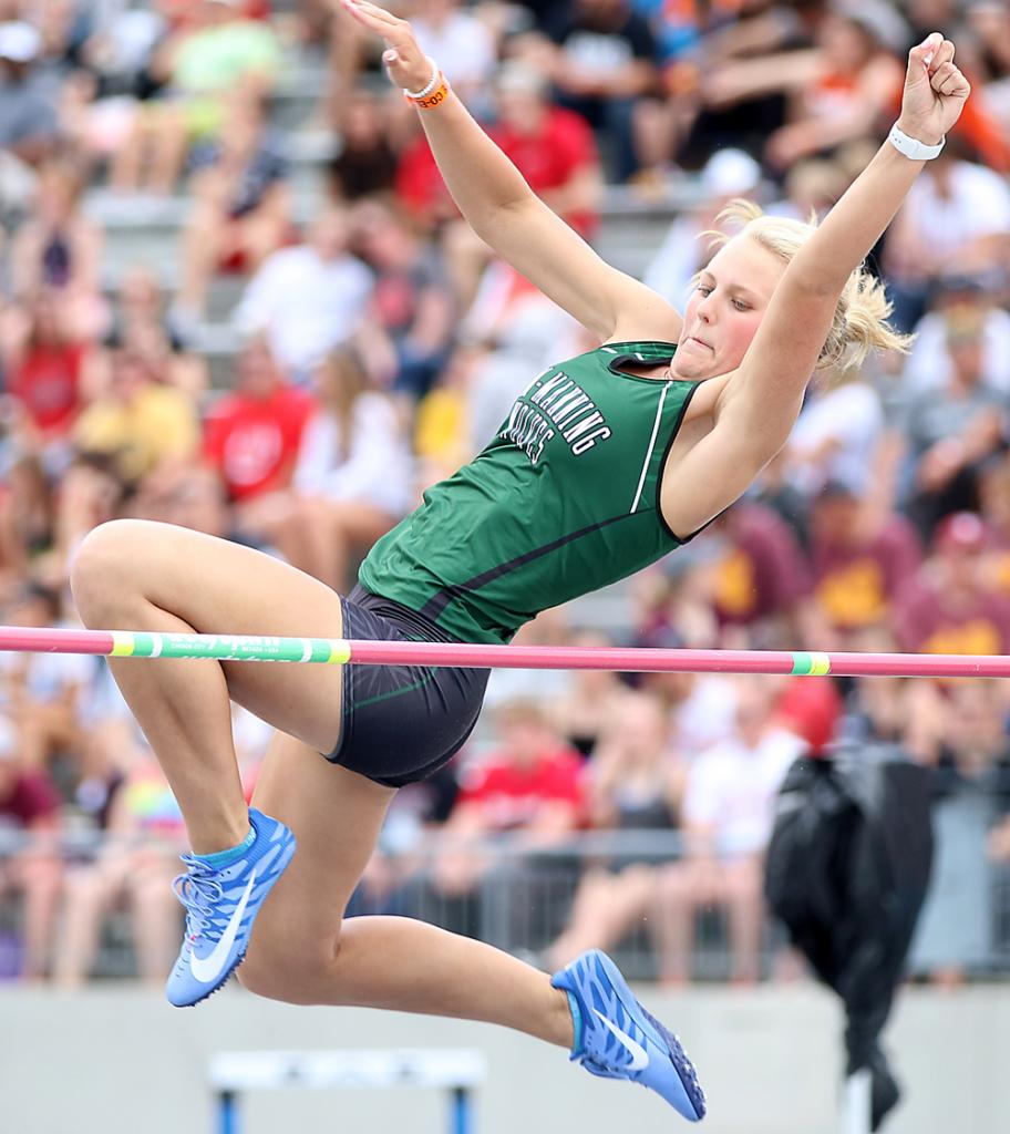 IKM-Manning junior Alexa Ahrenholtz competed in three state meet events last spring, including a 16th-place finish in the Class 1A high jump. (Photos by Mike Oeffner)