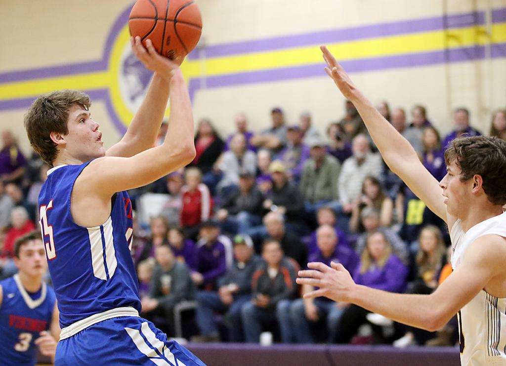 AHSTW senior Clayton Akers shoots a fadeaway for two of his eight points against the Panthers. (Photos by Mike Oeffner)