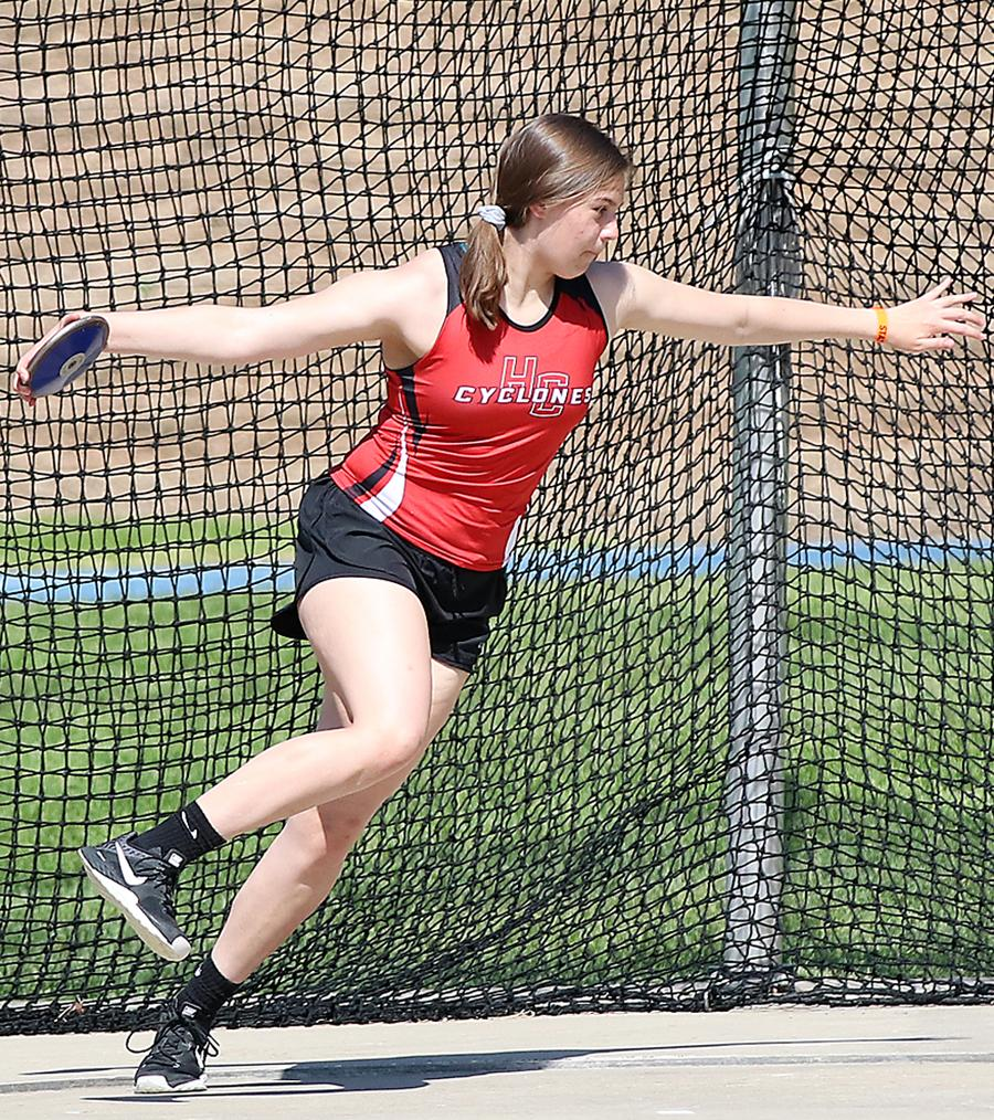"""Lauren Andersen earned the HCHS girls' lone state meet medal last May by placing fourth in the Class 3A discus with a throw of 121'-2"""" as a sophomore. (Photos by Mike Oeffner)"""
