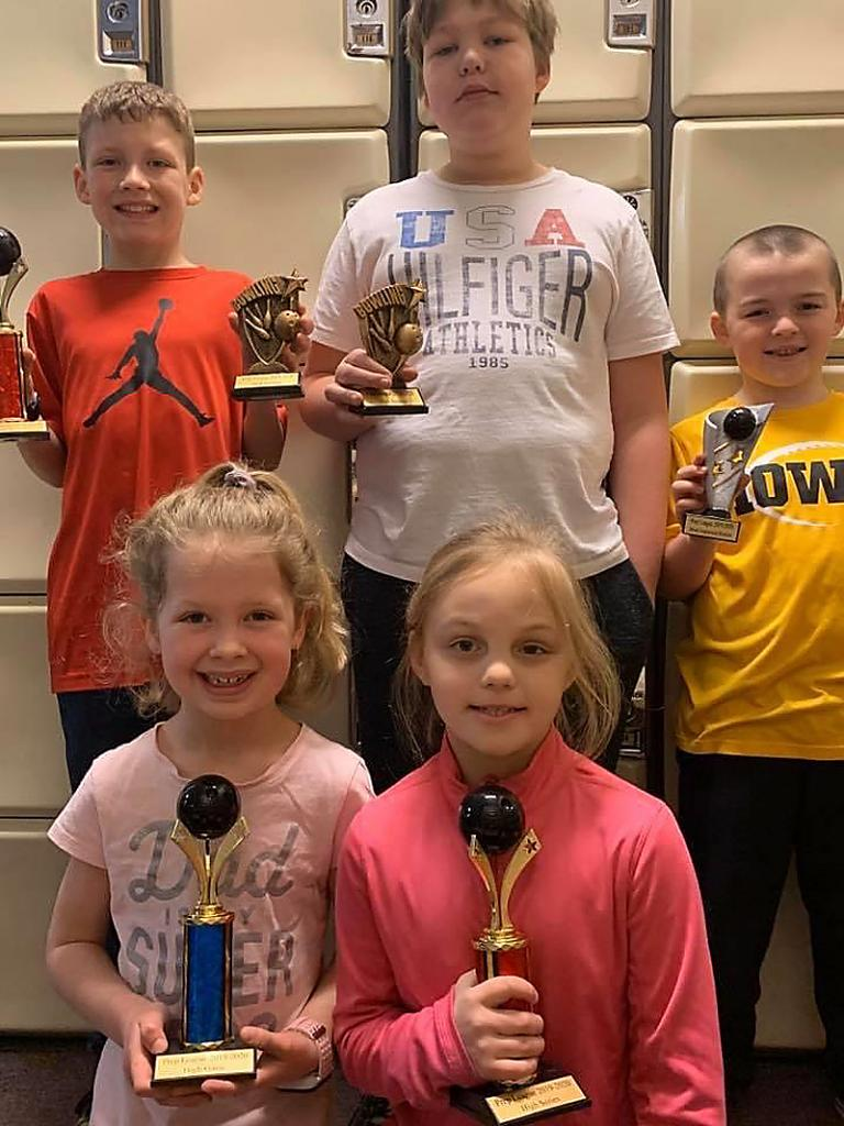 Saturday Prep: Individual Awards -- Front row, L-R: Hailey Strom (High Game 154, High Avg. 96, Most Improved Avg. +32 pins), Ryleigh Fuhs (High Series 345). Back row, L-R: Logan Strom (High Series 413, High Avg. 115), Alex Nollen (High Game 152), Hollis Kempf (Most Improved Avg. +25 pins).