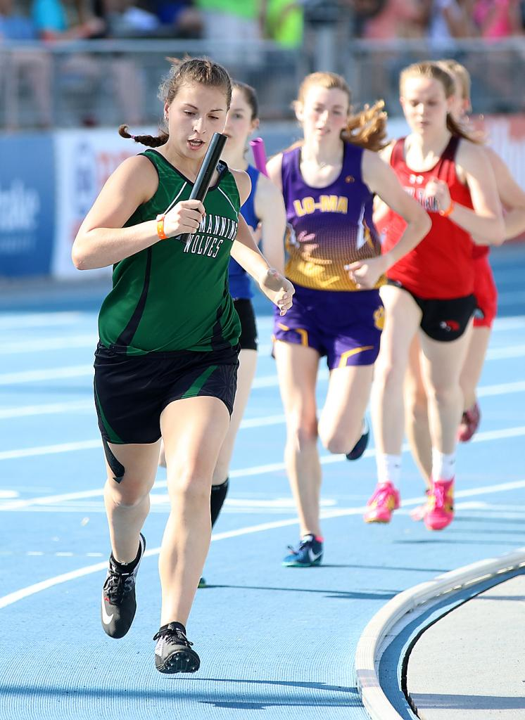 Bianca Cadwell, leading a pack of runners in the state meet 4x800 relay last year, was set to return as the Wolves' Distance Runner MVP.