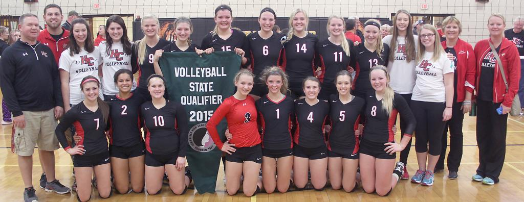 STATE TOURNEY BOUND -- The Harlan Community volleyball team clinched its fifth consecutive state tournament berth Tuesday night with a regional final sweep of Bondurant-Farrar. The Cyclones will face Pella in a Class 4-A state quarterfinal match Tuesday, November 10, at the US Cellular Center in Cedar Rapids.