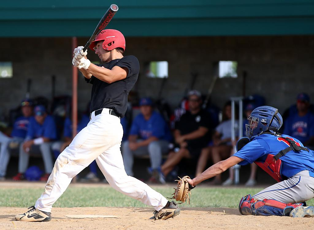 HCHS junior Brenden Bartley hits a three-run double during the Cyclones' 11-3 home win against Council Bluffs Abraham Lincoln on Tuesday.