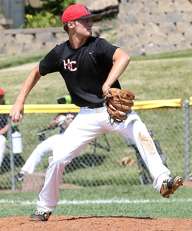 HCHS senior Connor Bruck pitched a one-hit shutout with 11 strikeouts Friday at Denison. (Photo courtesy of Todd Danner, Denison Bulletin/Review)