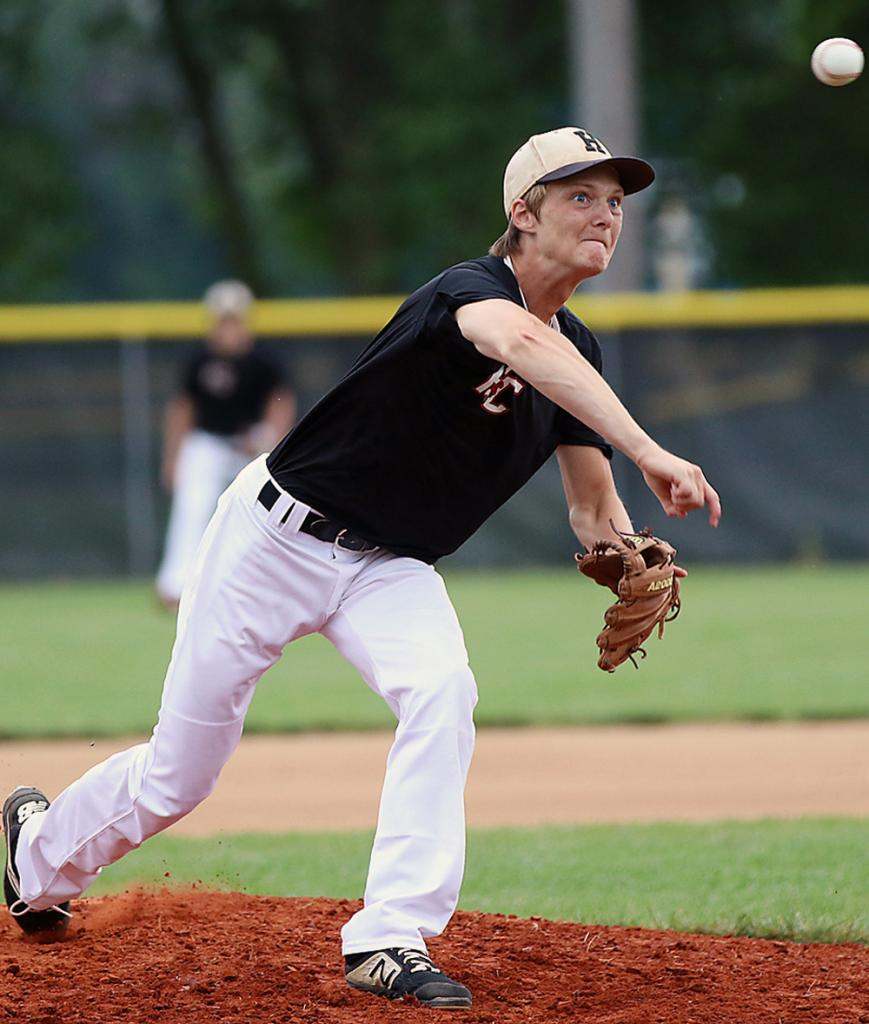 Harlan Community junior Connor Bruck delivers a pitch during a home game vs. Kuemper in June. Bruck took a shutout into the sixth inning and improved his record to 6-0 on Monday as the Cyclones won 12-6 at Lewis Central. (File photo)
