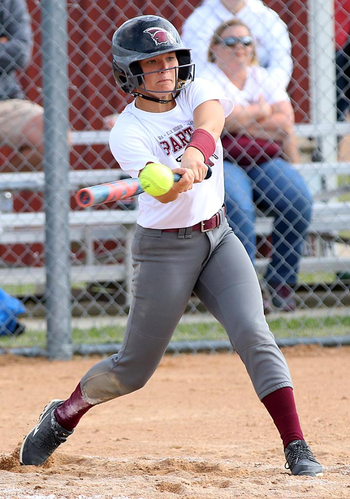 Exira-EHK sophomore Shay Burmeister connects for an RBI double during Monday's 12-0, three-inning win against Glidden-Ralston.