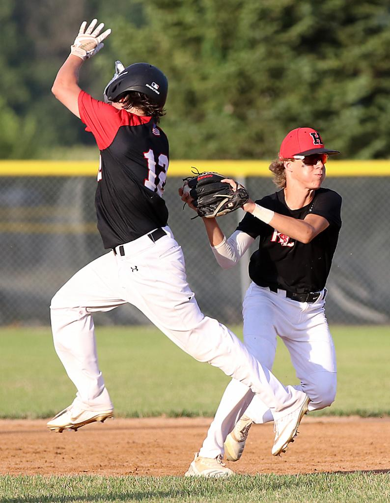 Cyclone second baseman Cade Sears (right) looks to throw to first for a double play after tagging out a Creston base runner.