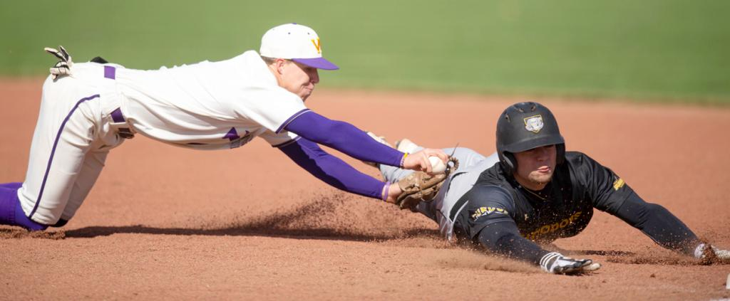 Western Illinois sophomore middle infielder Dillon Sears (left) makes a diving tag of an opposing player near second base during the 2019 season. Sears played both shortstop and second base for the Fighting Leathernecks. (Photos courtesy of Sarah Twidwell, Western Illinois University)