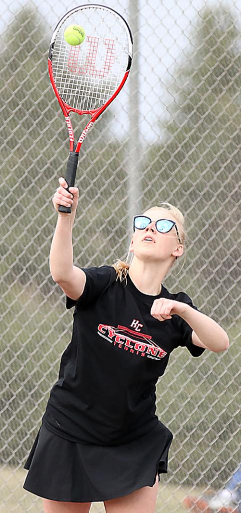 HCHS senior Elise Juhl, last year's number-one player, was one of six varsity letter winners set to return for the Cyclone girls tennis team in 2020. (Photo by Mike Oeffner)