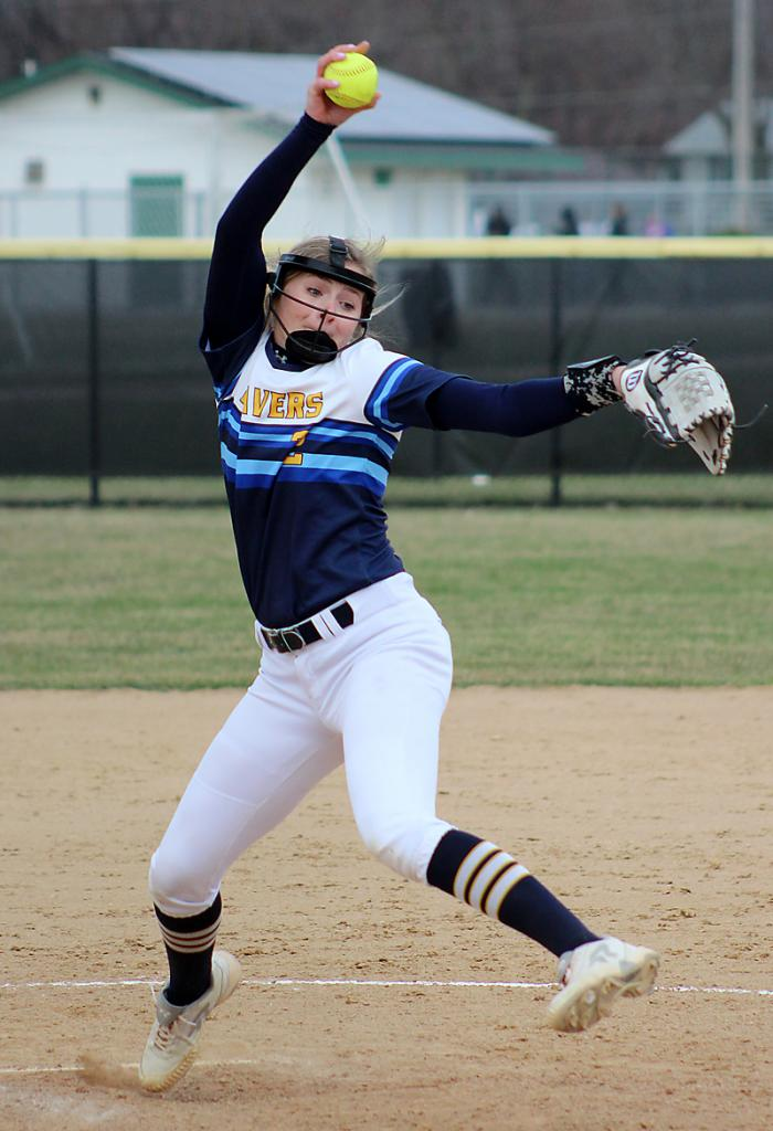 Buena Vista sophomore Peyton Gross delivers a pitch during the 2019 season. Gross finished 11-3 in the circle last year and was 3-4 through nine appearances in 2020. (Photo courtesy of BVU Sports Information)