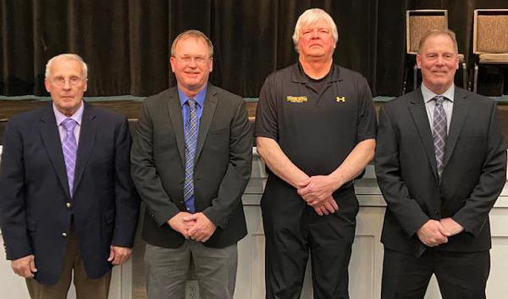 2020 IFCA Coaches Hall of Fame inductees include Harlan native Lynn Cadwell (far left) and former Irwin coach Gary McElmuray (second from right). (Photo courtesy of Iowa Football Coaches Association)