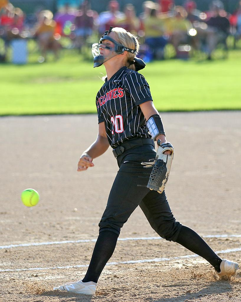 HCHS sophomore Tianna Kasperbauer pitches against the Wildcats.
