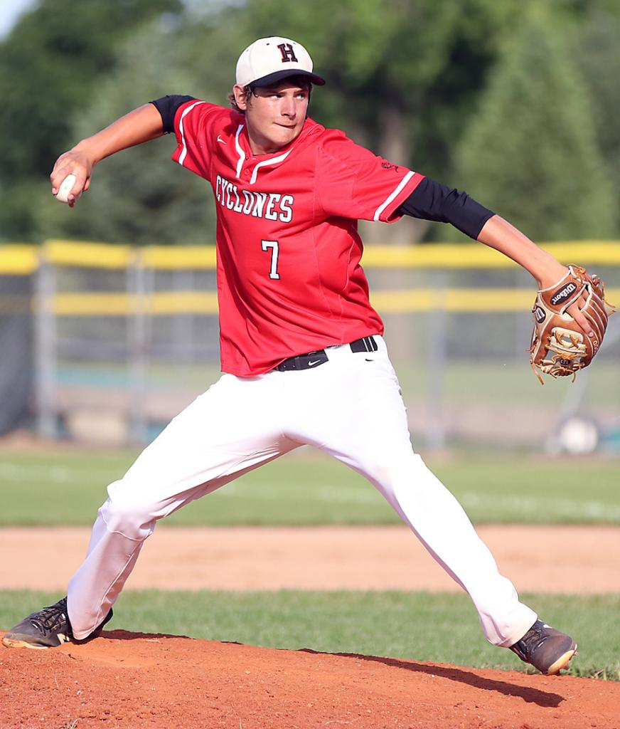 Harlan Community senior Riley Kohles pitched four innings against Roosevelt Friday, allowing two earned runs.