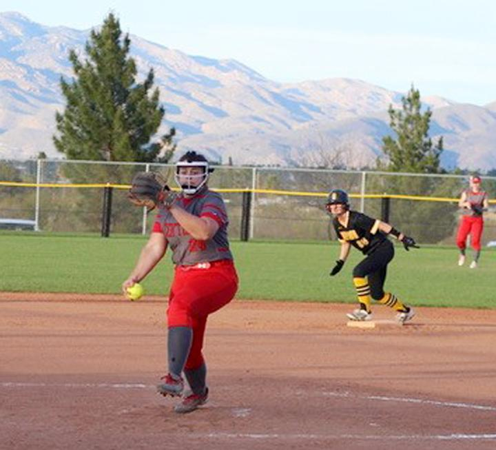 Central College freshman Morgan Schaben pitches during the NFCA Division III Leadoff Classic in early March. In four relief appearances during a partial 2020 season, Schaben was 2-0 with a 0.66 ERA. (Photo courtesy of Lindsey Castle/Central College)