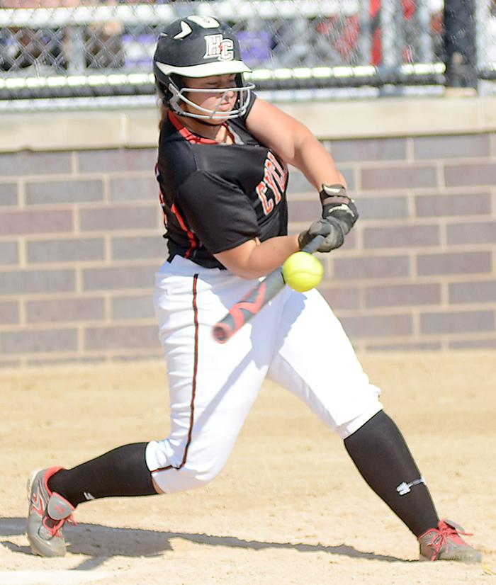 Morgan Schaben of HCHS puts the ball in play during the IGCA All-Star Softball Series in Waukee. (Photo courtesy of Larry Peterson, Creston News-Advertiser)