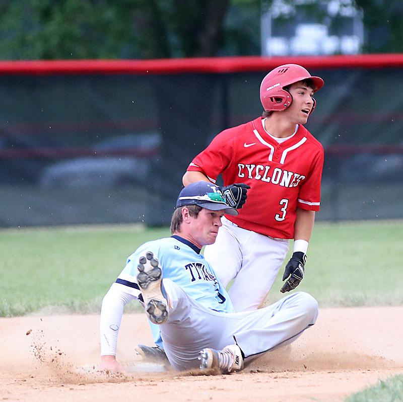 HCHS junior Joey Moser (3) reacts to being called out at second base.
