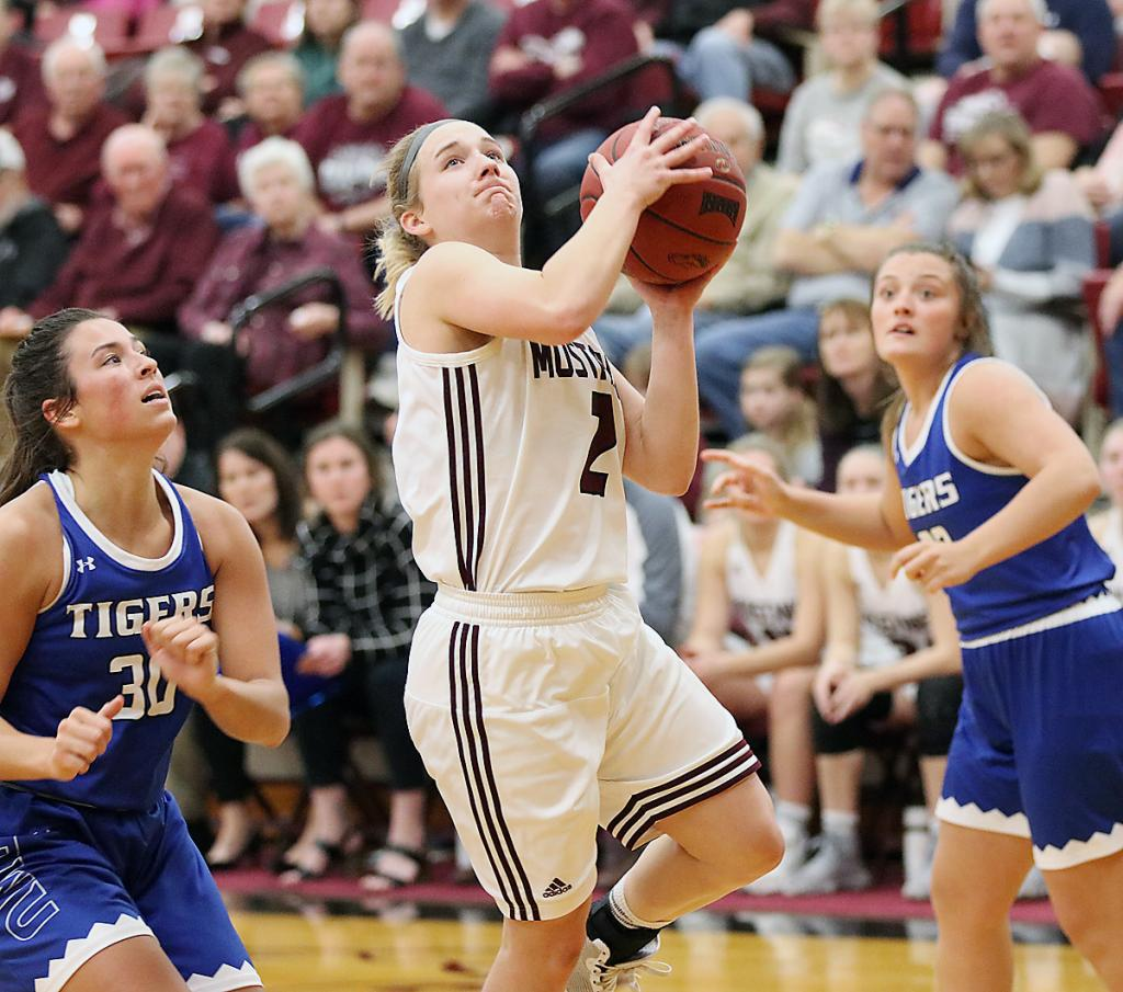 Morningside College senior Jordyn Moser (2) drives past Dakota Wesleyan's Kynedi Cheeseman (30) for a shot attempt on January 4. Moser scored 5.9 points per game this past season and led the Mustangs with 119 assists and 78 steals.