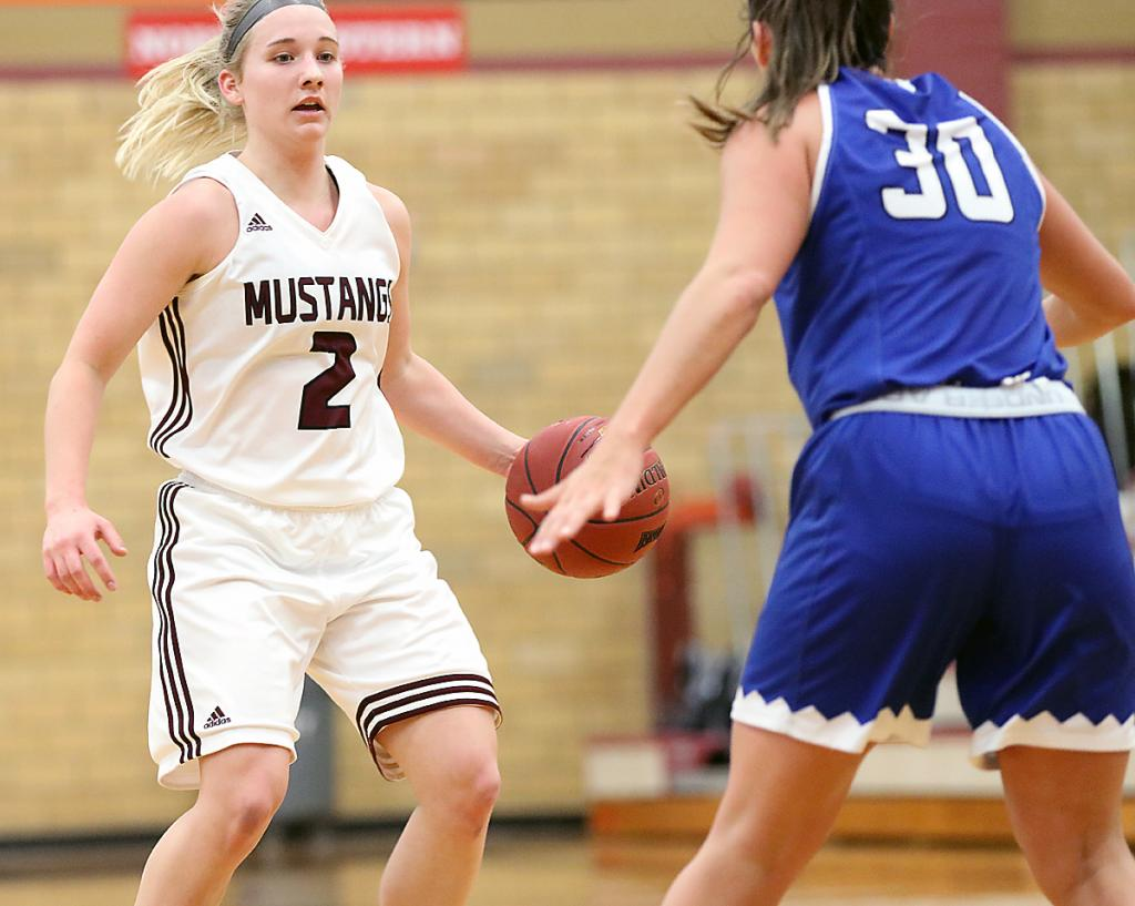 Jordyn Moser handles the ball at the top of the key.