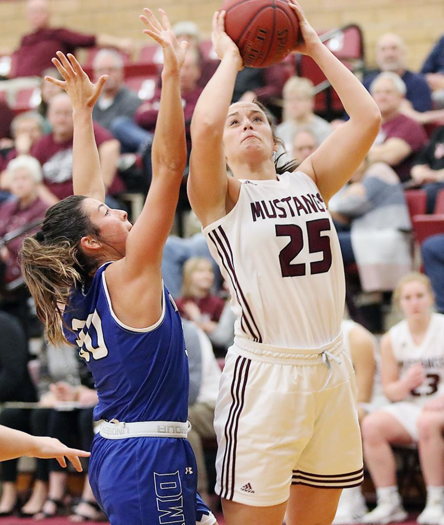 Morningside sophomore Sophia Peppers (25) shoots over Kynedi Cheeseman. Peppers averaged 14.5 points and 5.8 rebounds per game and was named second team All-Great Plains Athletic Conference. (Photos by Mike Oeffner)