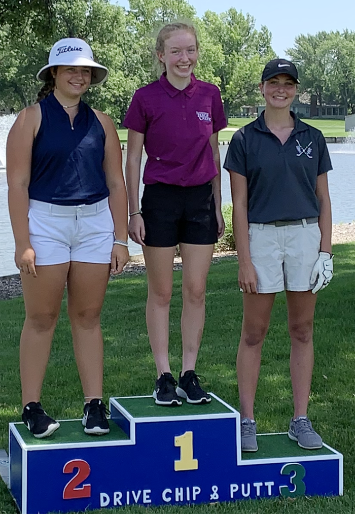 Kylie Powers of Irwin (right) placed third overall in the Drive, Chip & Putt local qualifier held June 30 at Oak Hills Country Club in Omaha. (Photo contributed)