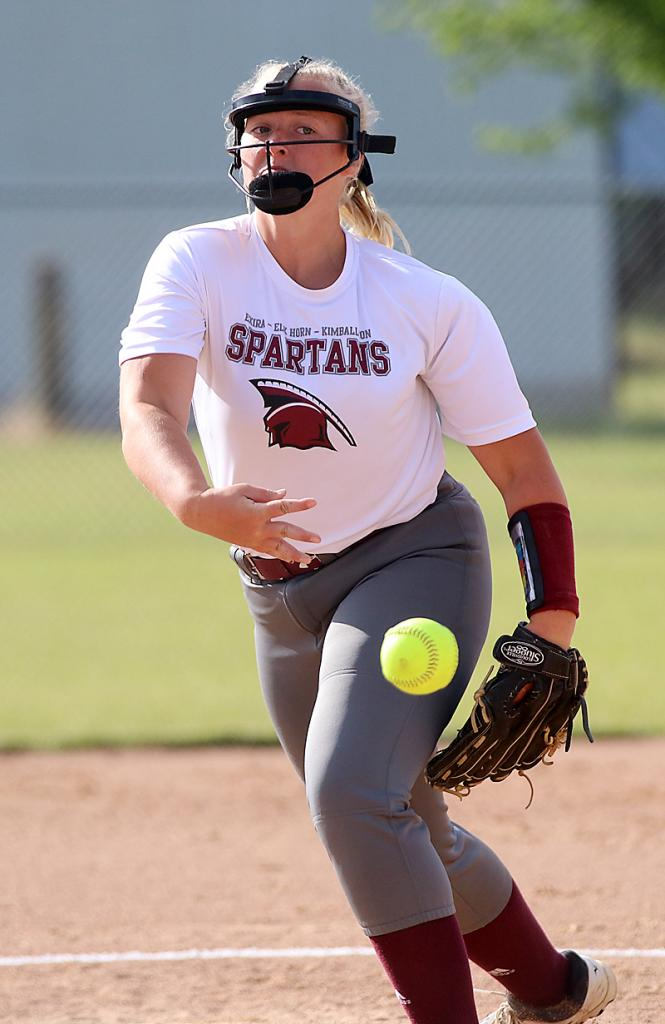 Spartan junior Mollie Rasmussen pitched three perfect innings for the victory. (Photos by Mike Oeffner)
