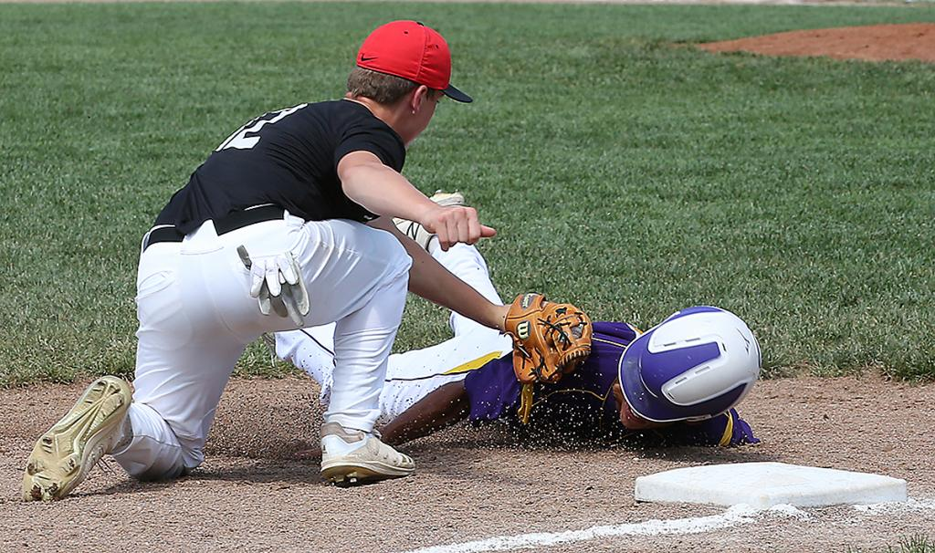 Cyclone third baseman Matt Sorfonden tags out Denison's Charlie Wiebers following a pickoff at second base. (Photo courtesy of Todd Danner, Denison Bulletin/Review)