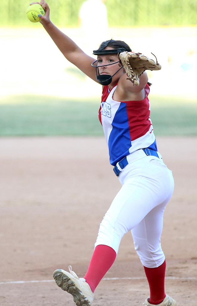 Lady Vike senior Madison Thornton scattered 10 hits against IKM-Manning as AHSTW prevailed 8-4.