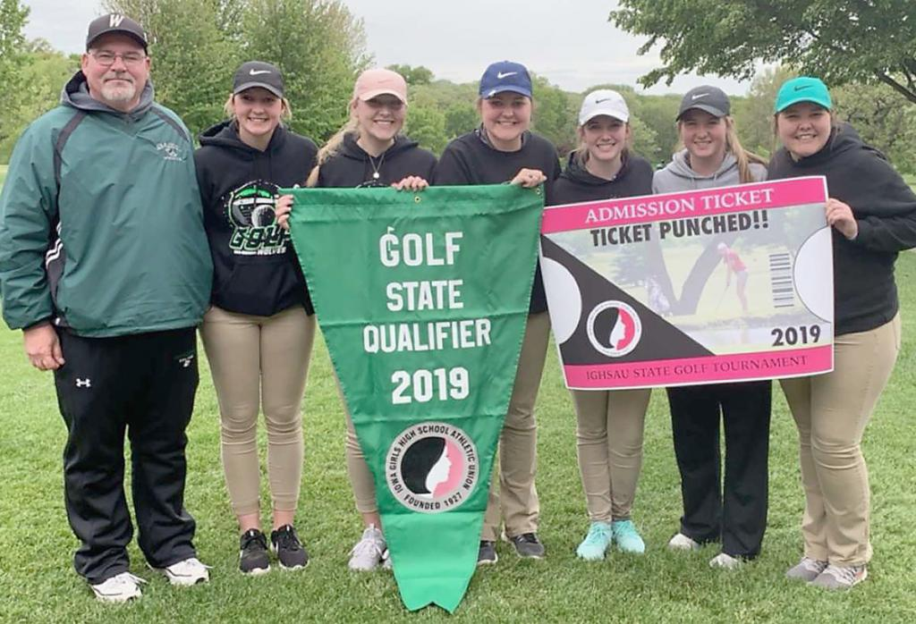 The IKM-Manning girls golf team qualified for its first state meet in school history last spring and finished 10th in Class 1A. Left-right: Coach Kevin Lahndorf, Bre Muhlbauer, Bailey Schechinger, Neeka Jacobsen, Hanna Mullen, Emily Powers, Kamaya Jacobsen. Muhlbauer, Powers and Kamaya Jacobsen were this year's returning letter winners. (Photo contributed)