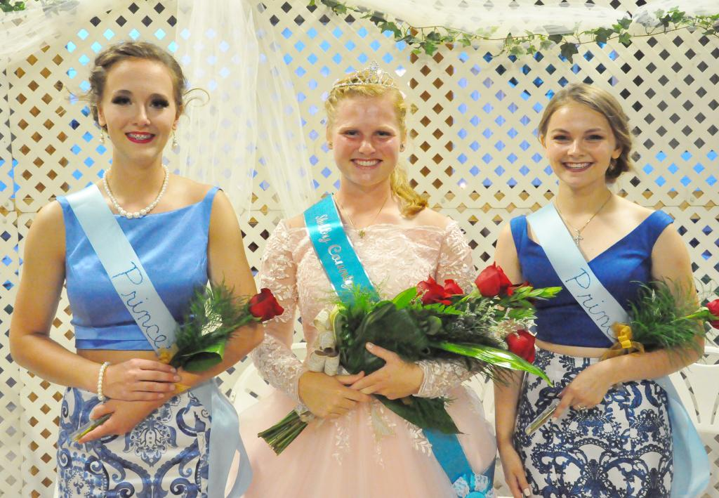 Cassidy Robinson was crowned Shelby County Fair Queen July 12.  The two runner-up princesses included Allyssa Obrecht (first runner-up, left) and Emily Taggs (second runner-up, right).