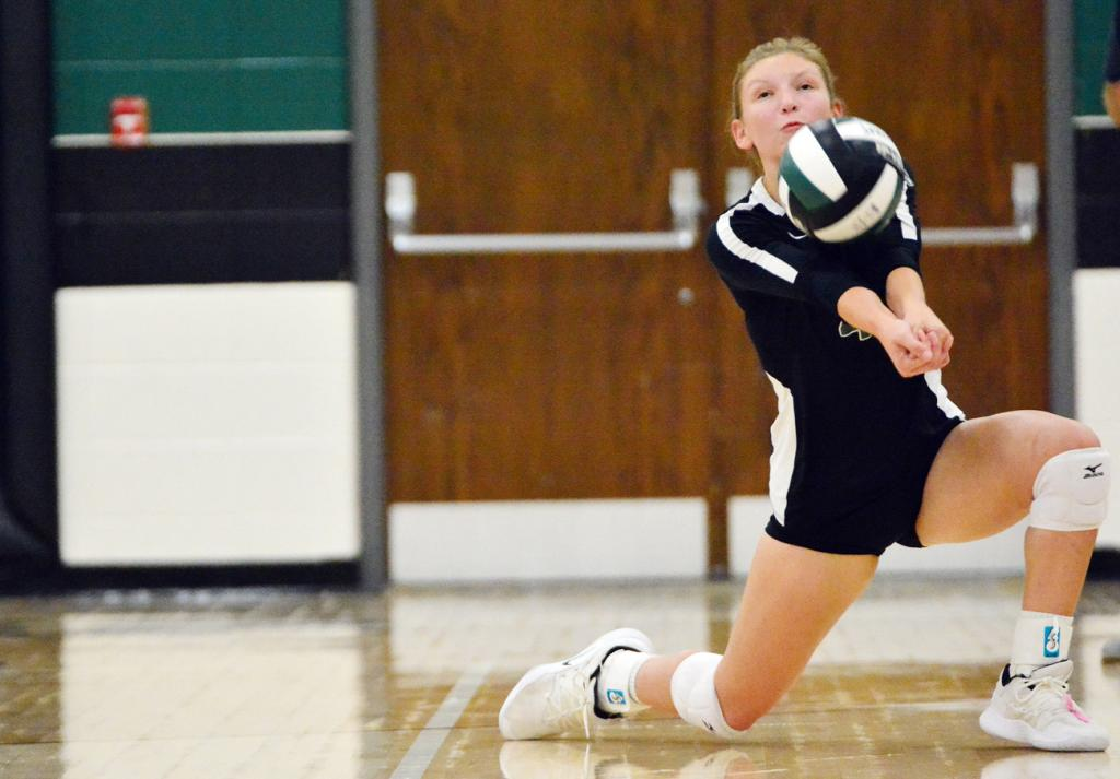 Wolves' junior Amber Halbur positions herself to make a pass.