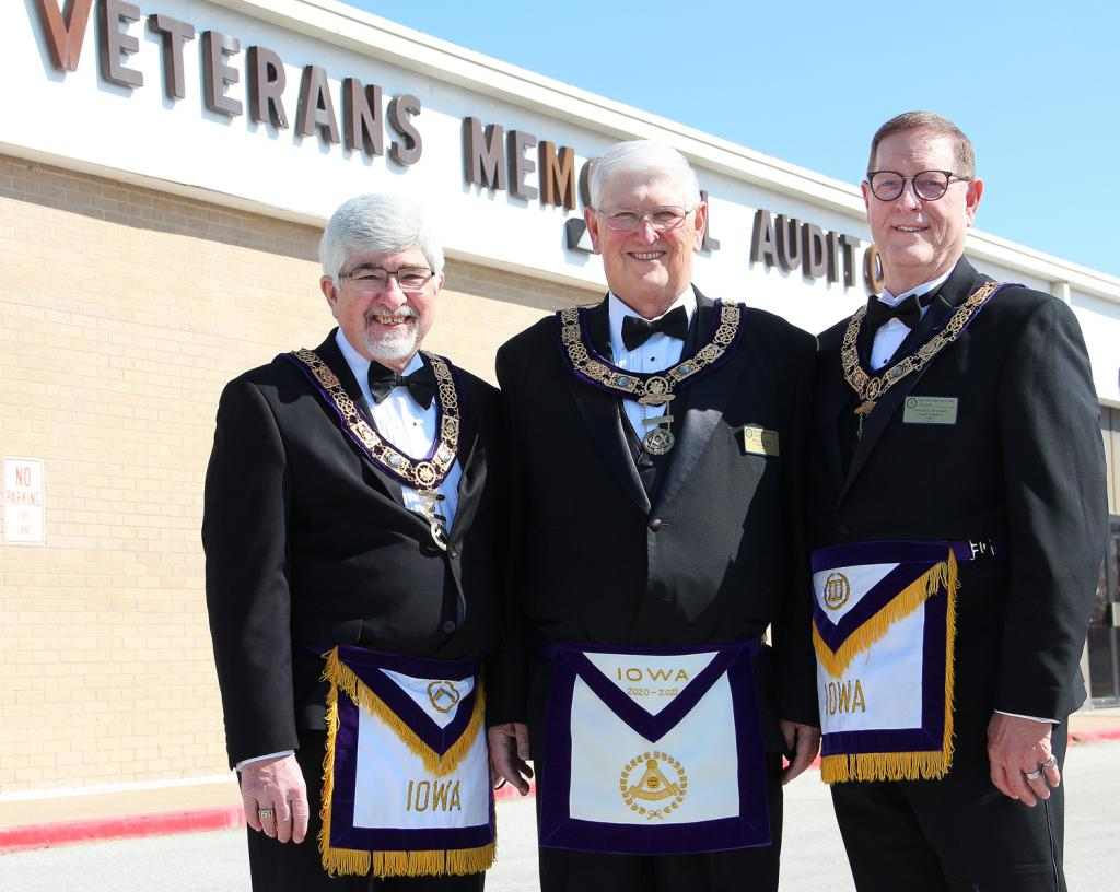 Honored in Harlan Saturday were John D. Lloyd, deputy grand master; Dennis R. Heflin, grand master; and Donald A. Drennan, grand chaplain, of the Grand Lodge of Iowa of Ancient Free and Accepted Masons.