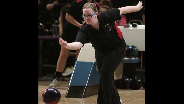 HCHS senior Emma Barnes rolled the Cyclone girls' fourth-best two-game series at Denison with a 192.