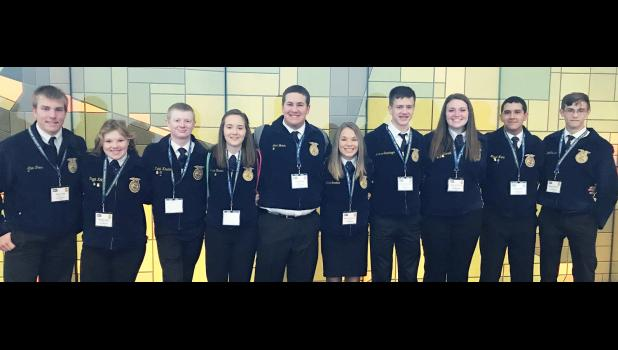 Harlan FFA members who attended National FFA Convention with a bus group are pictured left to right: Allen Fries, Maggie Koke, Kaleb Kaster, Allyssa Obrecht, Jack Buman, McKenna Boardman, Andrew Schechinger, Clara Schmidt, Miguel Mena, and Wyatt Obrecht.