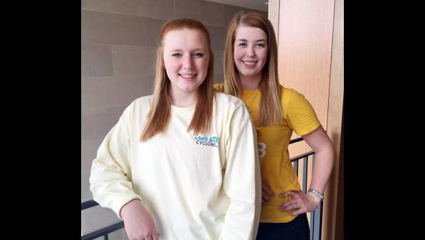 Harlan natives Megan Euchner (left) and Sarah Olson are spearheading a scholarship in memory of fallen ISU classmate.