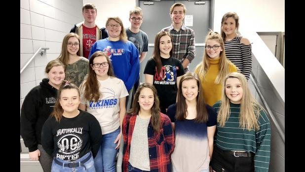 All State Readers Theatre Cast:  1st row (L-R) Chyann Bain, Grace Luna, Baylee Meyers and Ashley Jones.  2nd row (L-R) Hope Constable, Nora Paulson  3rd row (L-R) Sophie Brockman, Autumn Dea, Emma Maassen and Bella Zortman.  4th row (L-R) Zach Stanton, Ryan Kilmer, Evan Pattee and Kailey Jones.  (not pictured: Kaitlynne Henriksen).