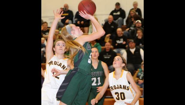 IKM-Manning senior Payton Sporrer attempts a shot against Tri-Center.