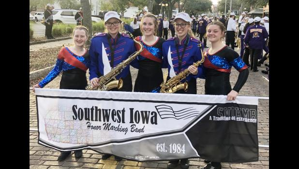 AHSTW band members who were selected as part of the Southwest Iowa Honor Marching Band that performed at the Outback Bowl last week were L to R -- Kylynn Heilig, Nora Paulson, Sofia Platt, Emma Kock and Kallie Van Scoy.