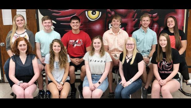 HCHS seniors who are the first to earn the Seal of Biliteracy are back row L to R -- Morgan Bendorf, Tim Mumm, Brady Wagner, Elijah Boldan, Jayden Swanson, and Morgan Schaben. Front row L to R -- Caitlin Bissen, Lindsey Metzger, Morgan Goetz, Greichaly Kaster, and Olivia Petersen.  Missing from photo: Andrea Ferry, Ethan Matthew Leinen, Angelina Marti, Ben Rihner, and Kara Weis.