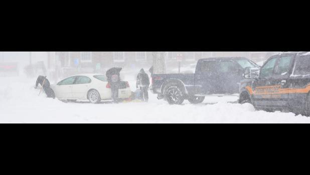 Shelby County Emergency Management and some helpful motorists pulled this vehicle from a drift at 7th and Durant Sts.