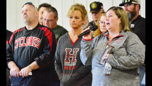 Harlan Community English Teacher Randi Daniels tells legislators that members of the local school board have never been in her classroom, while fellow teacher Michelle Burmeister listens.