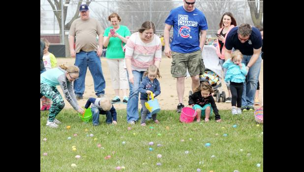 HARLAN -- Youngsters from across Shelby County turned out on a beautiful day Saturday, April 8 for an Easter Egg Hunt at the ball fields at J.J. Jensen Park.  The hunt was sponsored by the Girl Scouts.  (Photo by Kim Wegener)