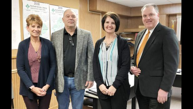 Those taking office include L to R -- Geralyn Greer, recorder; Darin Haake, supervisor; Carolyn Blum, treasurer; and Marcus Gross, Jr., attorney.