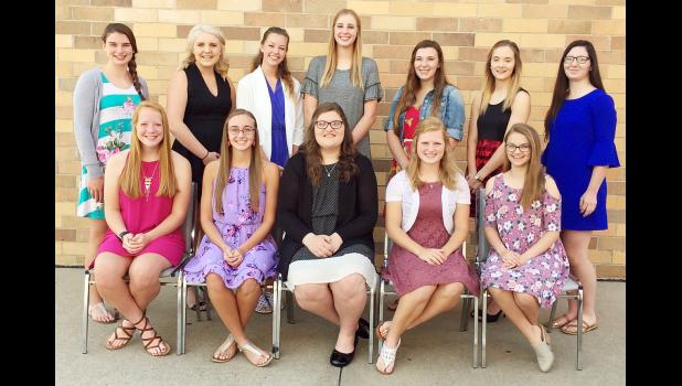Queen candidates this year are front L to R -- Kara Weis, Kara Rueschenberg, Kaylee Rivera, Cassidy Robinson and Emily Taggs.  Back L to R -- Taylor Andersen, Abigail Jacobsen, Mary Carroll, Amelia Juhl, Claire Dresen, Allyssa Obrecht and Mikala Kenkel.