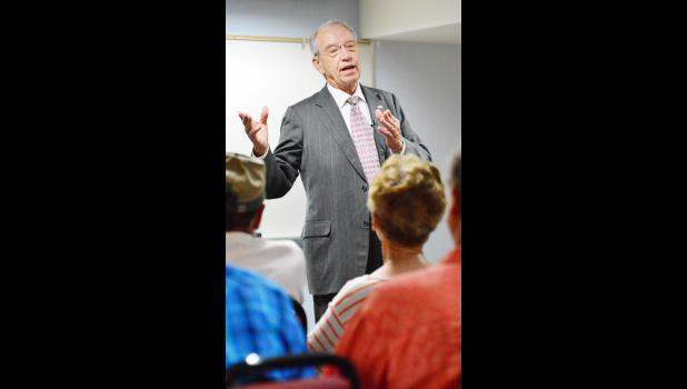 U.S. Sen. Charles Grassley talked with Shelby County constituents about everything from health care and prescription drug prices to the North Korea situation.