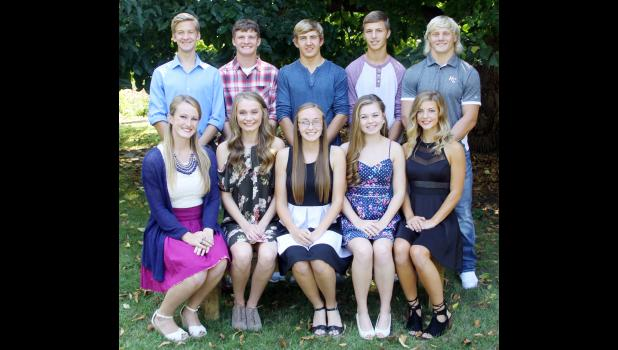 Candidates for Harlan Community High School Homecoming king and queen include front L to R -- Jennifer Weisenborn, Nicole Goshorn, Kara Rueschenberg, Kaitlyn Feldman and Sidney Craig.  Back L to R -- Andrew Shelton, Jared Moser, Jacob Bartley, Keaton Jones and Nick Foss.