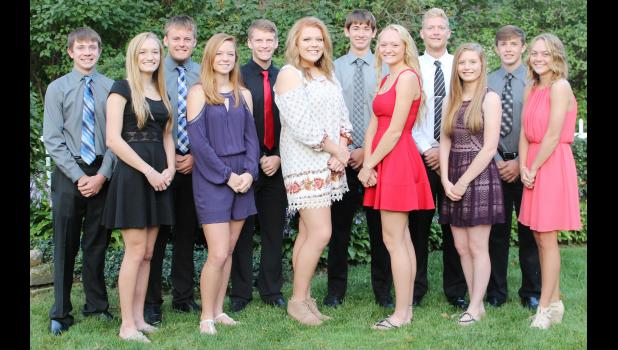 Homecoming king and queen candidates at IKM-Manning include front L to R -- Shyanne Sporrer, Cassidy Branning, Lillie Ceminsky, Payton Sporrer, Paige Gaskill and Kia Rasmussen.  Back L to R -- Eli Riessen, Austin Ahrenholtz, Dillon Hansen, Jared Johnson, Marshall Hansen and Carter Irlmeier.