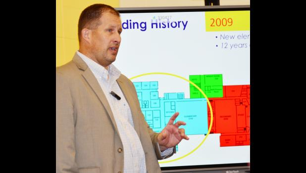 AHSTW Superintendent of Schools Darin Jones discusses the project with patrons at a community meeting held last week in Avoca.