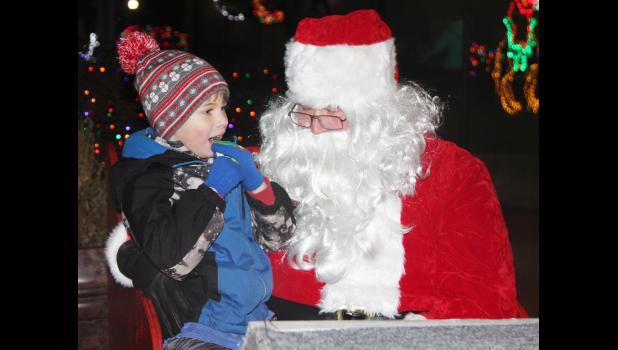Ezekiel Sorensen tells Santa Claus what is on his Christmas wish list.